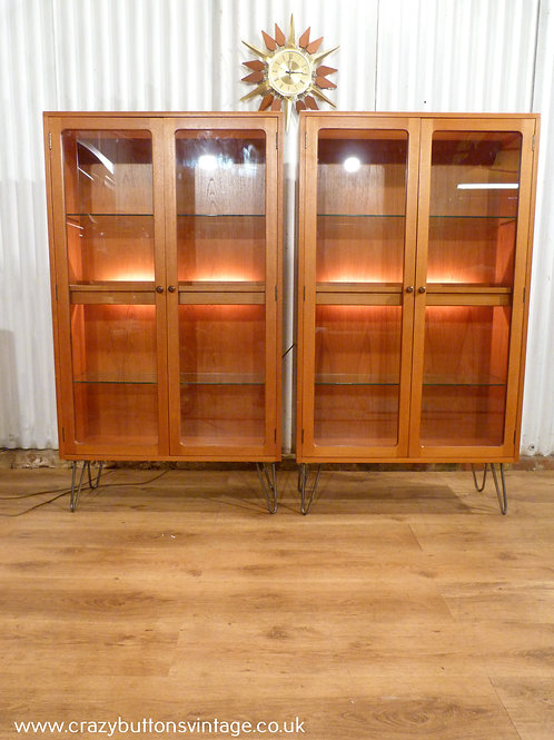 G Plan teak glazed hairpin display cabinet