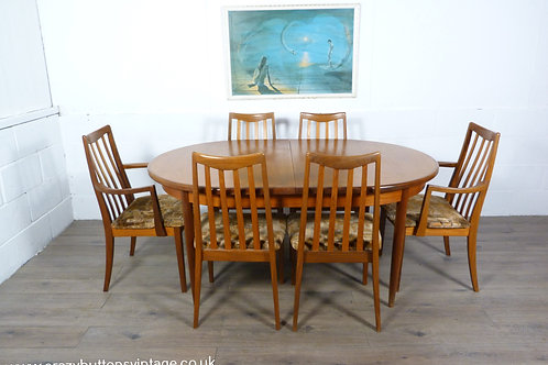 G Plan table and 6 chairs carvers