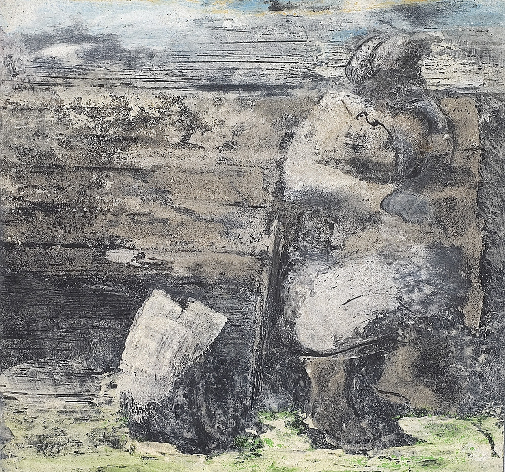 Old woman on bench 2008. Sand chalk dent