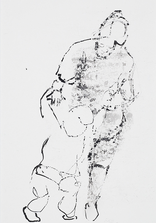 28. Mother and Child. Pen ink wax resist