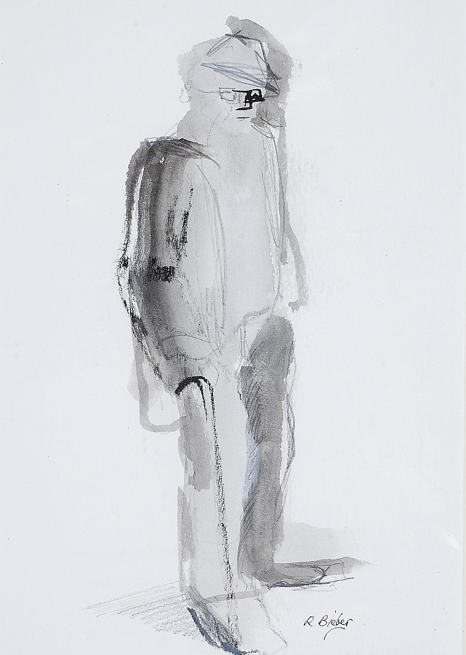 35. Greek Man. Pen and Ink Wash. 38 x 28
