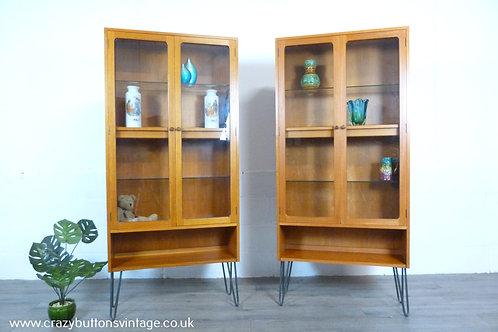 G Plan illuminated teak and glass display pair