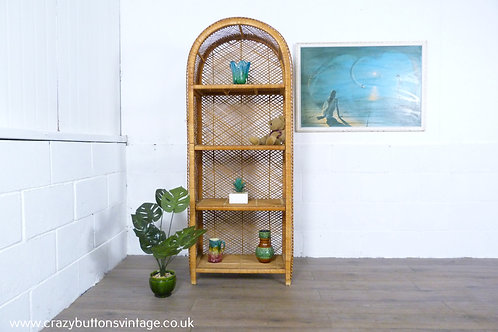 Vintage retro bohemian wicker bamboo shelving unit