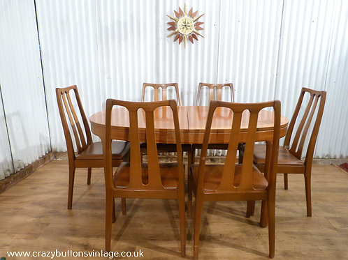Nathan teak dining table 6 chairs