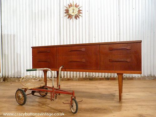 Danish inspired small 6 drawer Mid-Century teak sideboard