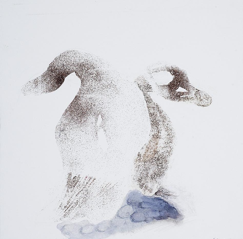 Fantasy birds. Carborundum pigment. 37 x