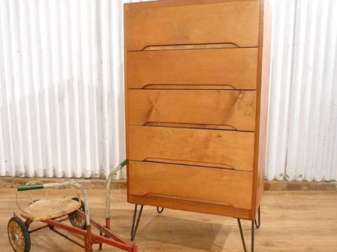Mid century Stag C range style chest of five drawers industrial hairpin legs.