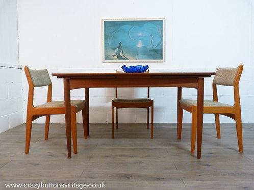Danish teak extending dining table bramin chairs