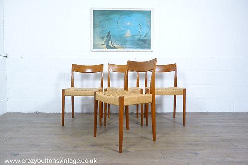 Niels Moller danish teak papercord dining chairs