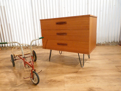 Mid-Century teak chest of drawers industrial hairpin legs