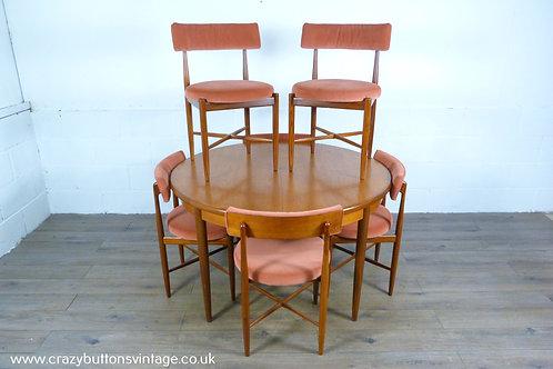 G Plan freco teak round extending dining table 6 kofod larsen chairs pink