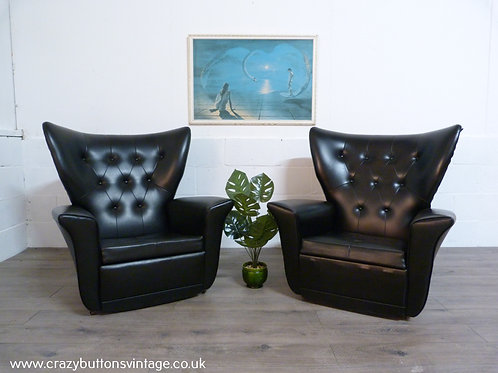 G Plan Blofeld pair of black armchairs