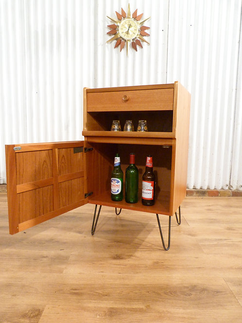 Nathan mid century teak drinks cocktail cabinet bedside industrial hairpin legs