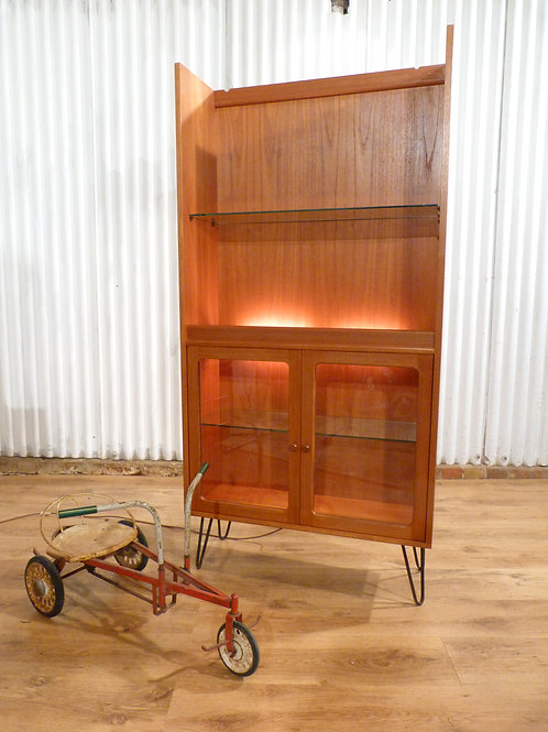 G plan teak and glazed display unit cabinet bookcase hairpin legs