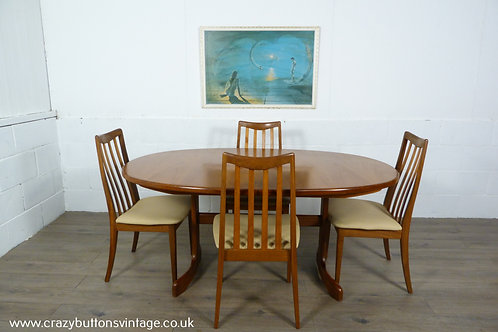 G Plan extending dining table four chairs