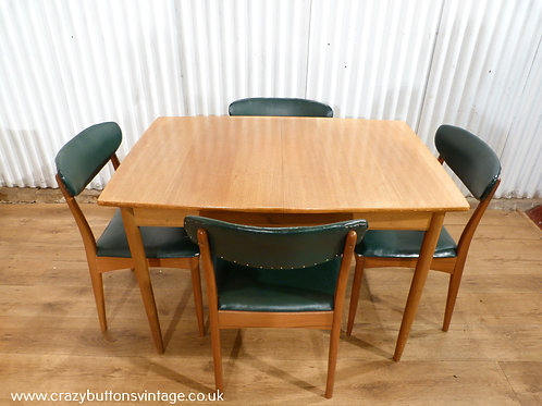Greaves & Thomas teak dining table and 4 chairs