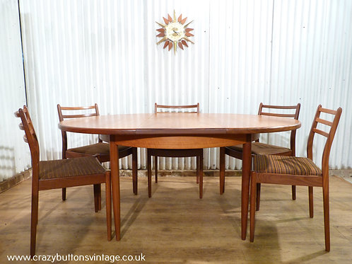 G plan round extending dining table 6 chairs