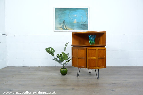 Nathan teak bow front drinks cabinet