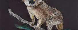 7. Lemur. Sand pigment collage. 53x64cm.
