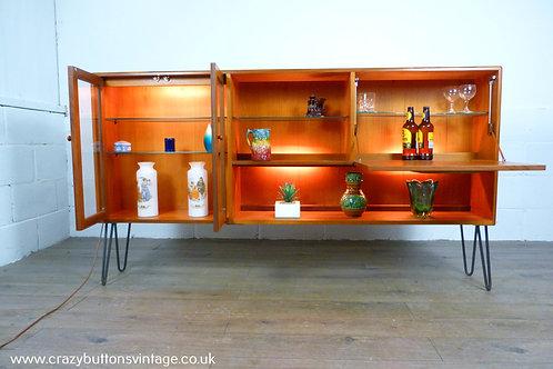 g plan fresco teak display drinks cabinet unit