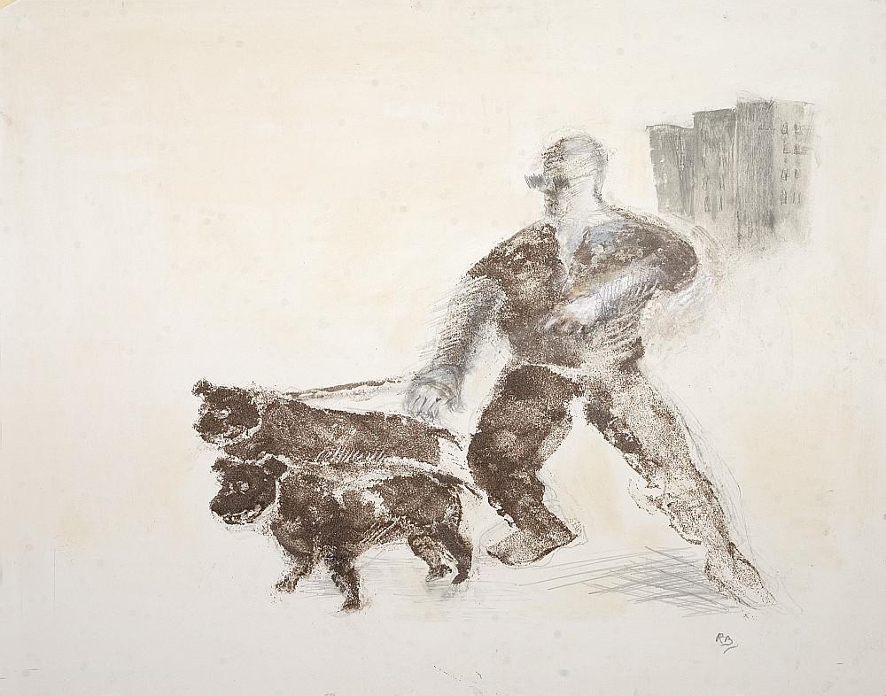 A thug and his dog 2009. Carborundum pen