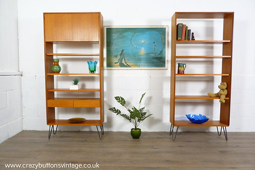 G Plan form 5 pair of bookcases hairpin