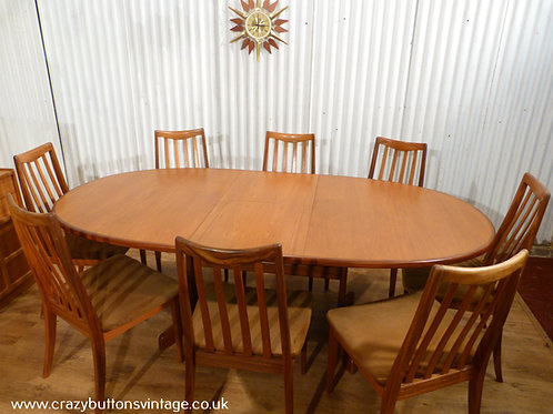 G Plan table and 8 chairs