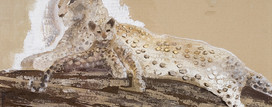 6. Leopard and Cub. Sand pigment dental