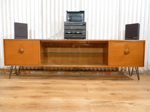 Mid-Century teak and glazed media/TV unit low sideboard industrial hairpin legs