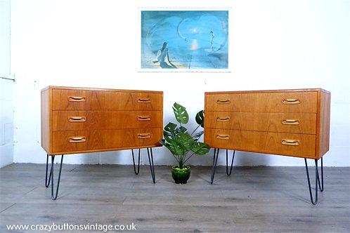 G Plan Fresco pair chest of drawers hairpin legs