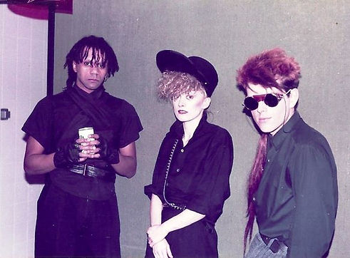 Thompson Twins backstage at The Tube, 1983, Tyne Tees Television, Green Room,  In The Name of Love, Love On Your Side, Post-Punk, Simon McKay