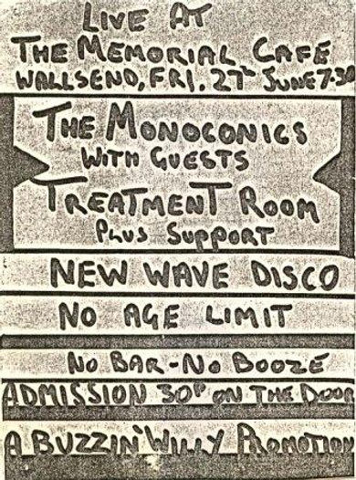 Wallsend, Monoconics, Denny Pooley, Grahame Cusack, Dave Green, Exit Stage Left, punk, post-punk, Clash, Slits, Gang of Four, Glaxo Babies, Treatment Room