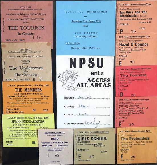 Gig Tickets, Newcastle 1980, Tourists, Undertones, Members, Devo, Pretenders, Pauline Murray, Ian Dury, Poly, University, Newcastle City Hall
