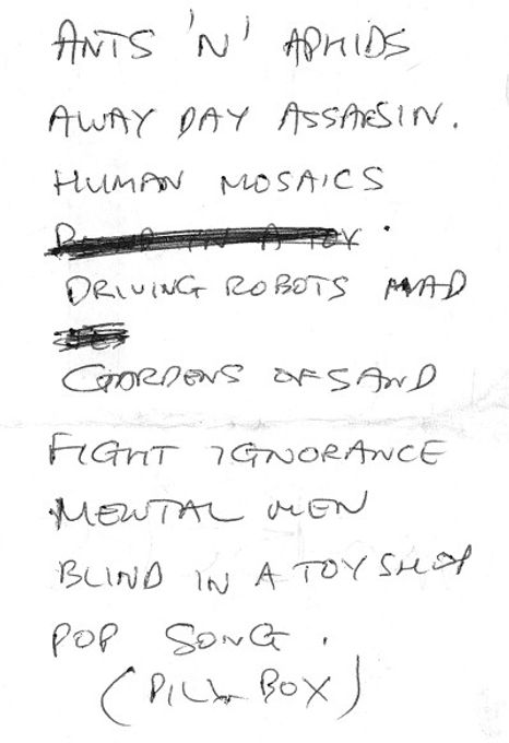 Treatment Room, band, Newcastle, set list 1981, post-punk, Shapes, Awayday