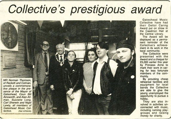 Gateshead Collective win award. Big Toot, Suzzane Long, Alan Allman, Carl Sherwin, The Station punk venue