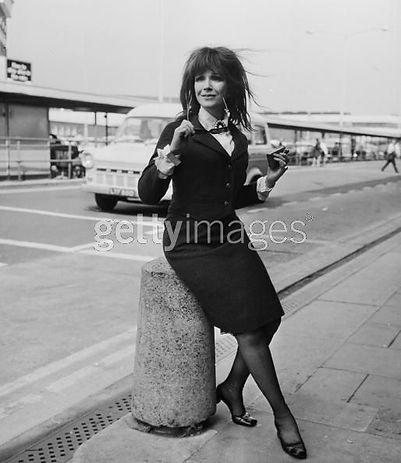 Fenella Fielding at Brighton airport 1970s
