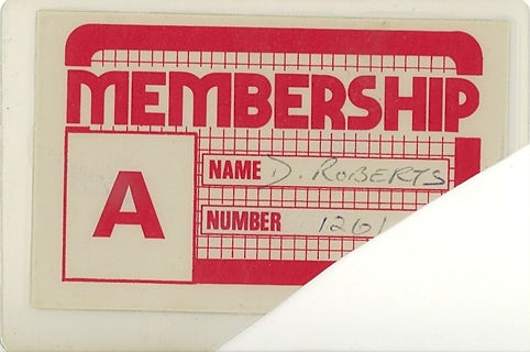 Rockshots, Membership Card, Newcastle Alternative Clubs in the 1980s
