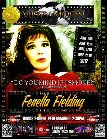 Fenella Fielding with Simon McKay at the Phoenix Artist Club reading her memoirs in 2017. Do You Mind If I Smoke?