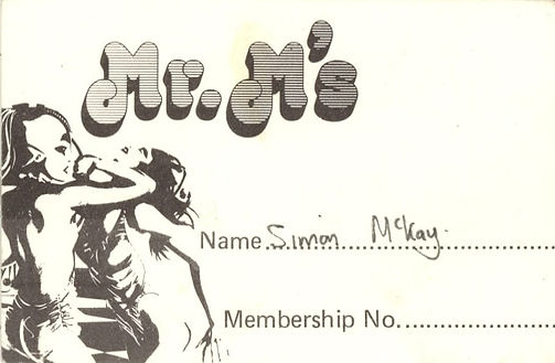 Mr M's Membership card, 1983, Newcastle Alternative Clubs in the 1980s, Rockshots, Tiffanys