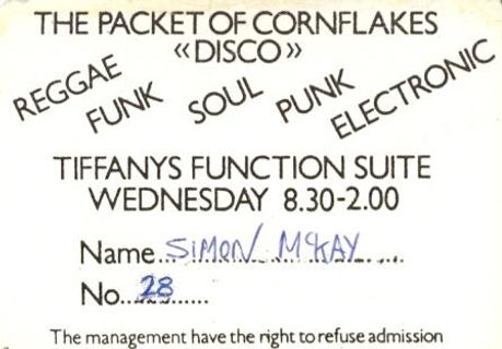 Packet of Cornflakes, Membership Card, Newcastle Alternative Clubs in the 1980s, Rockshots, Tiffanys