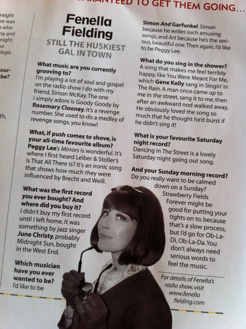 Fenella Fielding - the music she likes and her radio shows with Simon McKay (Article in Mojo 2012)