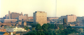 From Newcastle, panoramic view of Gateshead 1985