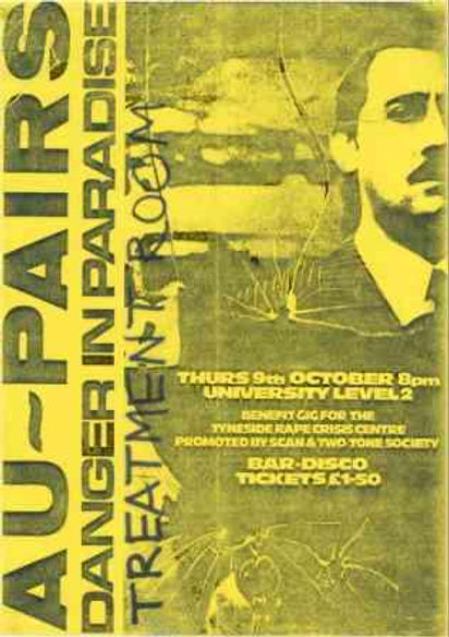 Au Pairs band, Treatment Room, Newcastle University poster 1981, post-punk, Clash, Slits, Gang of Four
