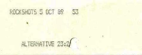 Entrance Ticket 1989, Newcastle Alternative Clubs in the 1980s, Tiffanys, Rockshots