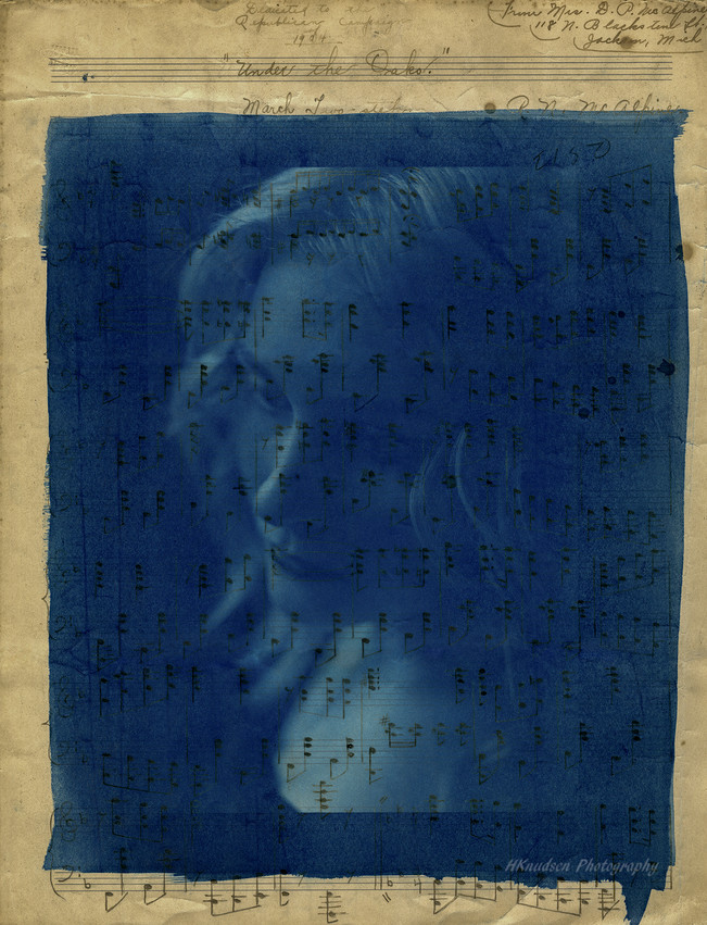 cyanotype printed on old sheet music from the 1800s