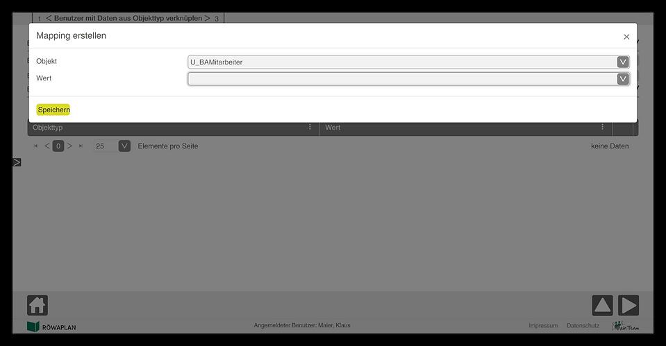 Benutzer mit Daten aus Objekttyp verknüpfen