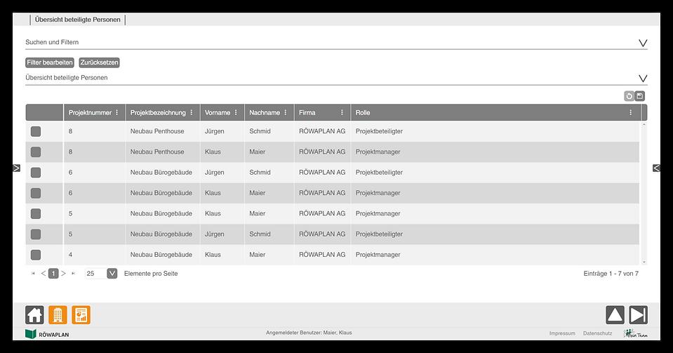 Übersicht der Reports der Funktion Projekte