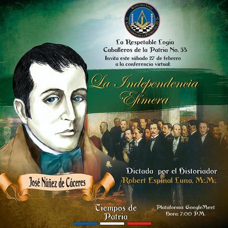 """CDLP53 realiza conferencia virtual sobre """"La Independencia Efímera""""."""