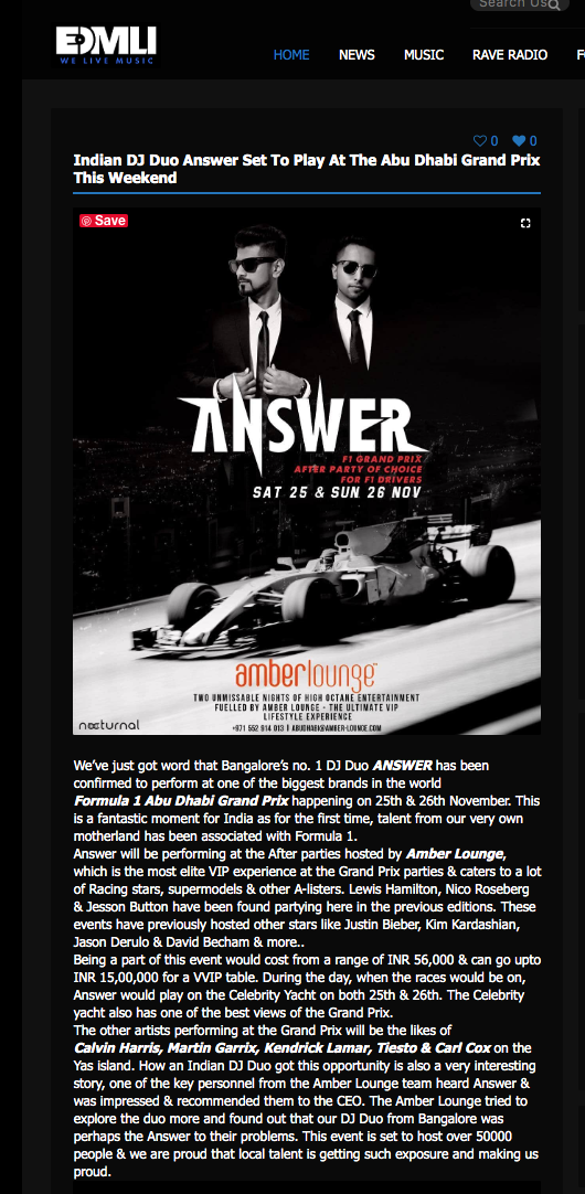 ANSWER for F1 Grand Prix Abu Dhabi - Amber lounge