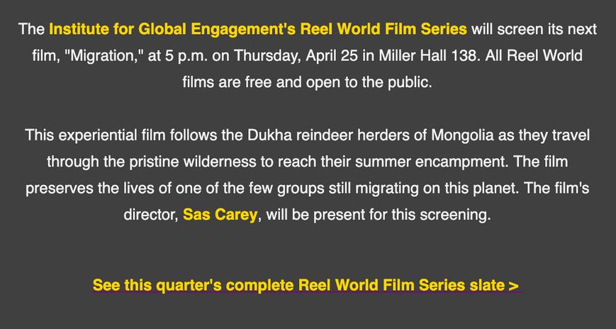 Reel World Film Series
